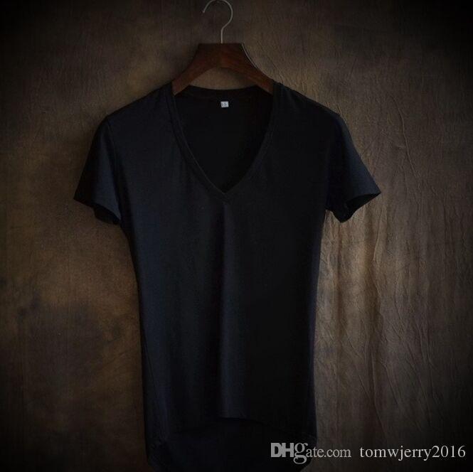 Summer New arrival Men's Deep V collar short sleeved T-shirts Male soft irregular Length slim simple Tops 4XL S M L XL 2XL 3XL