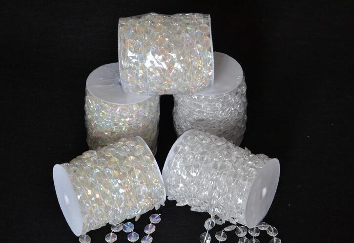 30 Meters Diamond Crystal Acrylic Beads Roll Hanging Garland Strand Wedding Birthday Christmas Decor DIY Curtain WT052