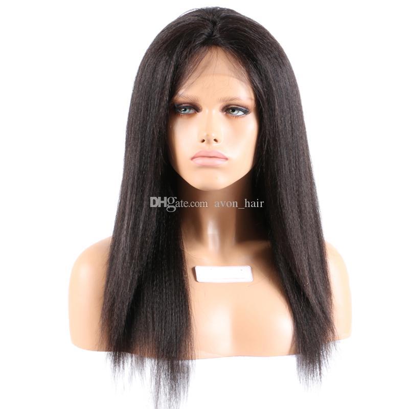 180 Yoğunluk Sapıkça Düz Tam Dantel Peruk Ipek Üst 4X4 Malezya İnsan Saç Kaba Yaki Ipek Taban Tutkalsız Dantel Ön Peruk Doğal Saç Çizgisi