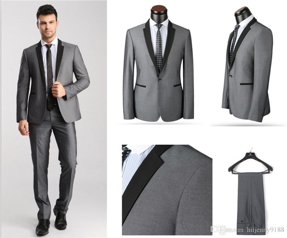 2017 New Slim Fit Grey Best Man Groom Men'S Wedding/Prom Suits ...