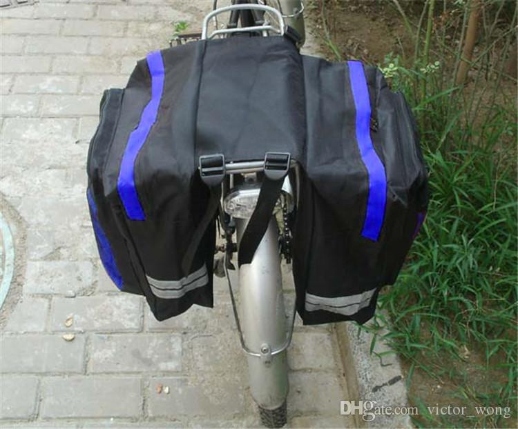 Siyah Bisiklet Bisiklet Eyer Çantası Bisiklet Çantaları PVC ve Naylon Su Geçirmez Çift Yan Arka Raf Kuyruk Koltuk Çanta Pannier Bisiklet aksesuarları