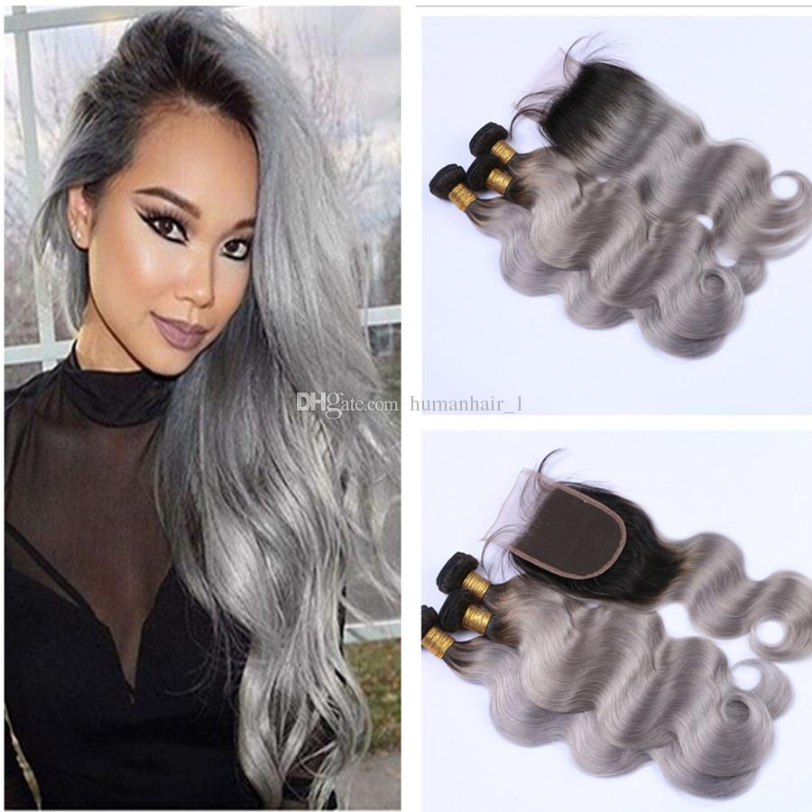 Chinese Hair Lace Closure With Bundles Ombre 1B Grey With Lace Closure Body Wave Human Hair Weave With 4*4 Lace Top Closure