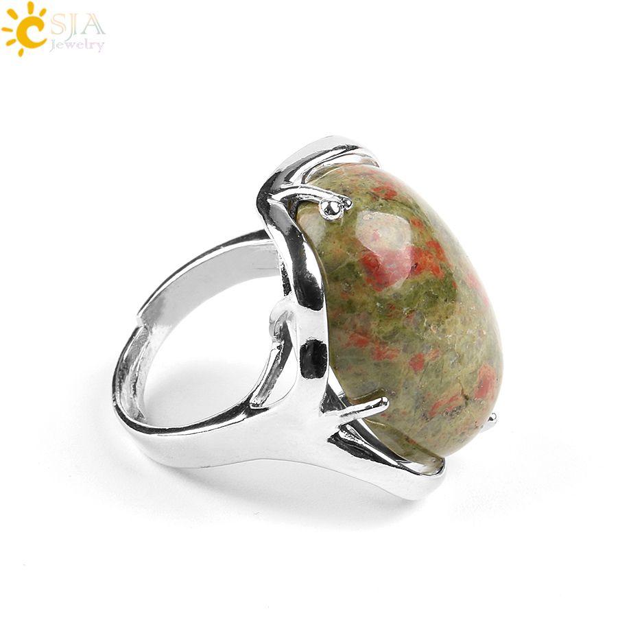 CSJA 18 Cor Feminino Oval Natural Cristal Anel de Moda Jóias de Prata Anéis de Coquetel Mulheres Aniversário Pedra Dedo Jóias Presente E580 B