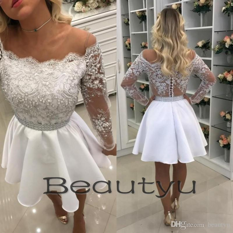 2cede78de79 Sexy Lace Short Homecoming Dresses For Juniors 2018 White A Line Sheer  Illusion Back Pearls Cheap Long Sleeve Prom Cocktail Party Dress Gown