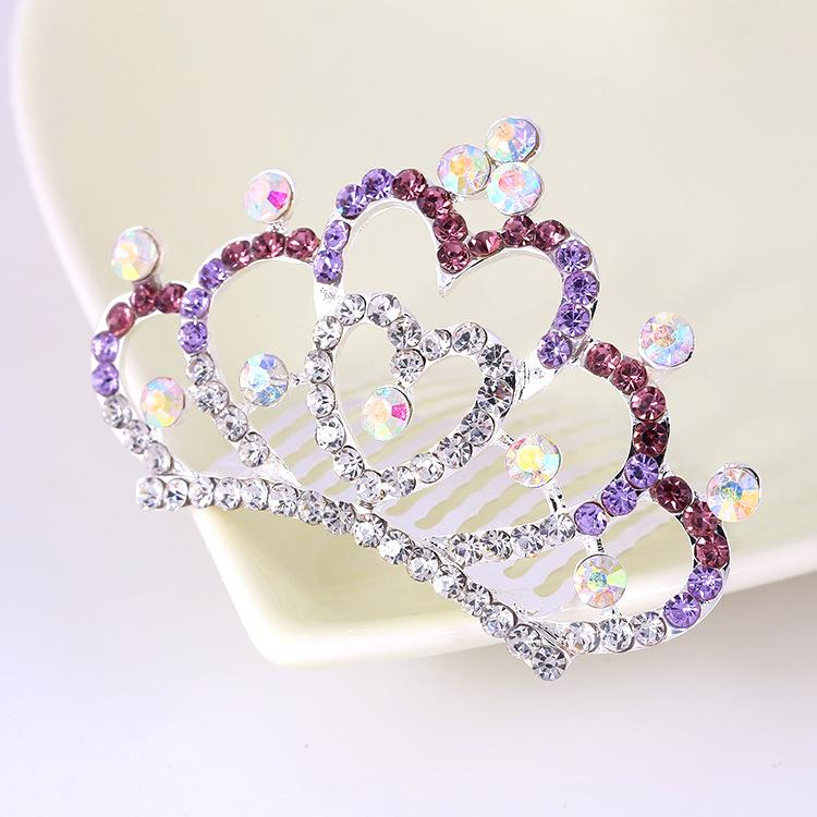 Baby Girls Crystal Crown Rhinestone Tiaras Hair Combs Hairpins Wedding Hair Jewelry Accessories Princess Crown Hair Clips