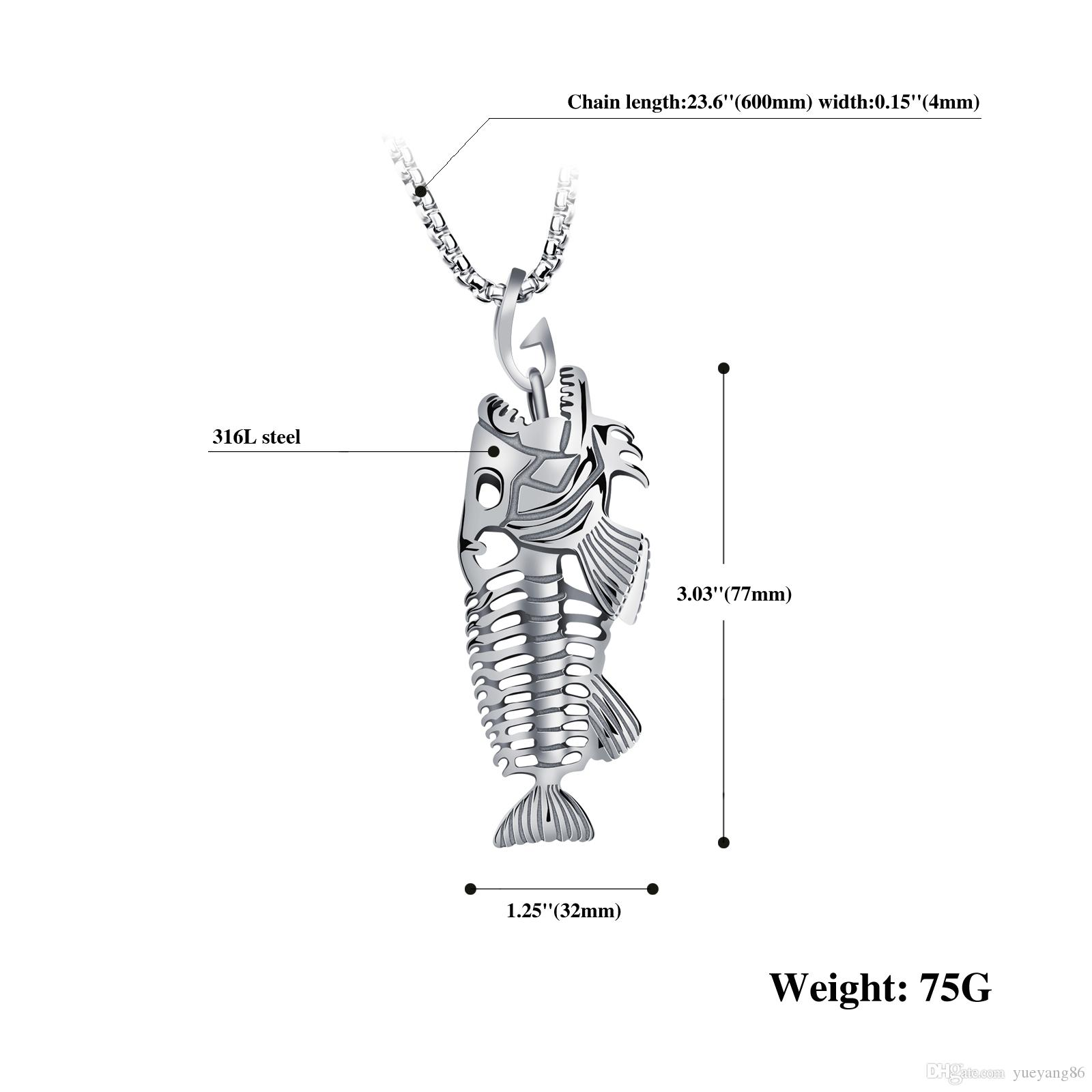 """Heavy fish Skeleton Biker Pendant Silver/Gold/Black Stainless Steel Necklace New with Free Rolo Chain 4mm*24"""""""