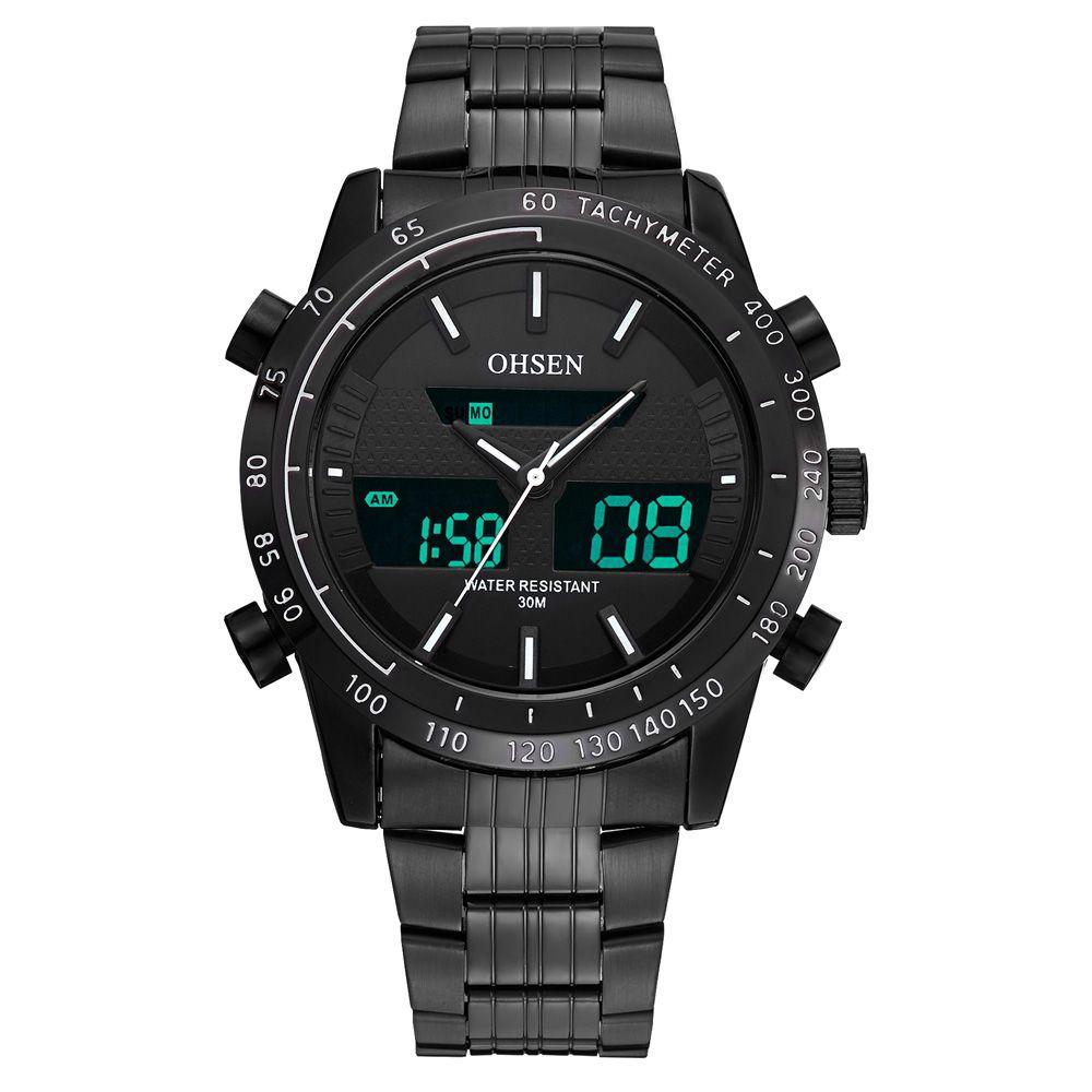 7b2c01f4ca OHSEN Black Stainless Steel Watches Analog Digital Dual Time Mens Quartz  Steel Waterproof Wrist Watch Watch On Sale Online Watch Sales From Soki, ...