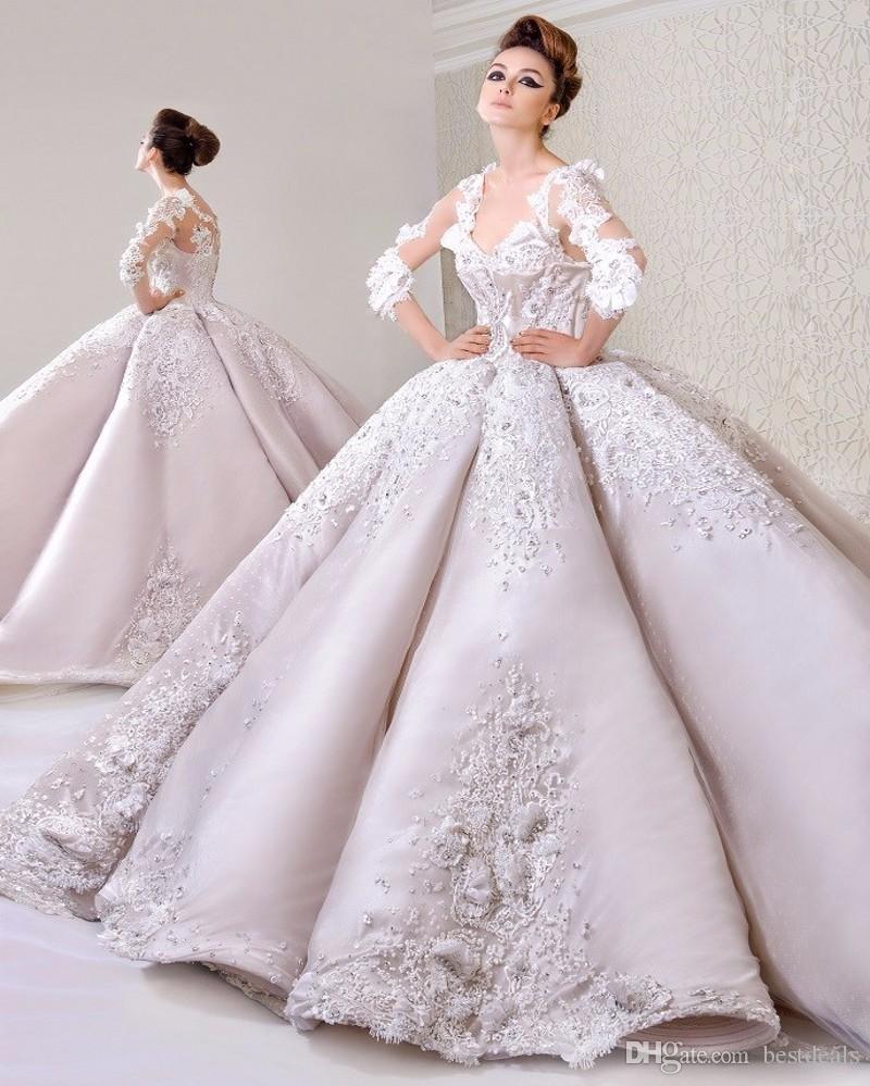 Luxus Spitze Ballkleid Brautkleider 2017 Mode V-Ausschnitt Langarm Cathedral Zug Hochzeitskleider Neueste Muslim Vestido de Noiva