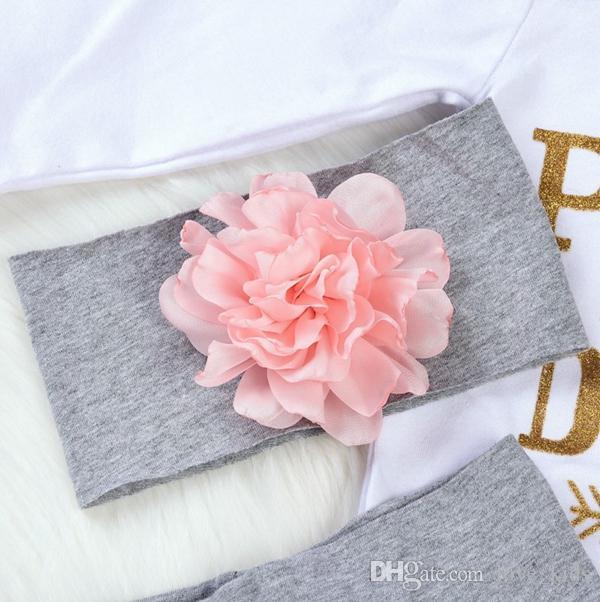 Девочка 4шт комплекты одежды детские Onesies комбинезон + цветочные брюки + оголовье + шляпа набор я нашел свою принцессу его зовут Папа