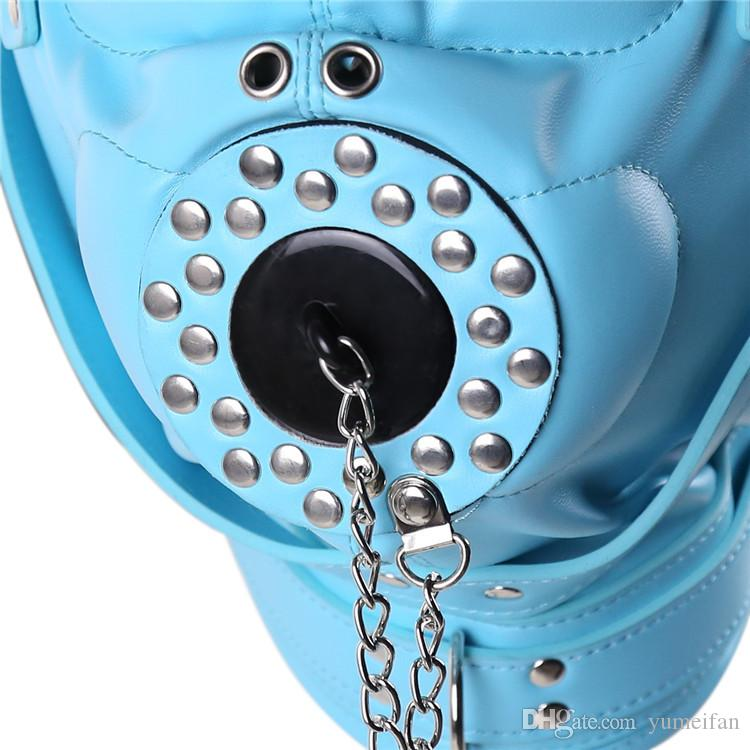 Sex Bondage Discipline Hood Soft Leather Sensory Deprivation Mask with Removable Mouth Cover Plug for Deep Throat three color