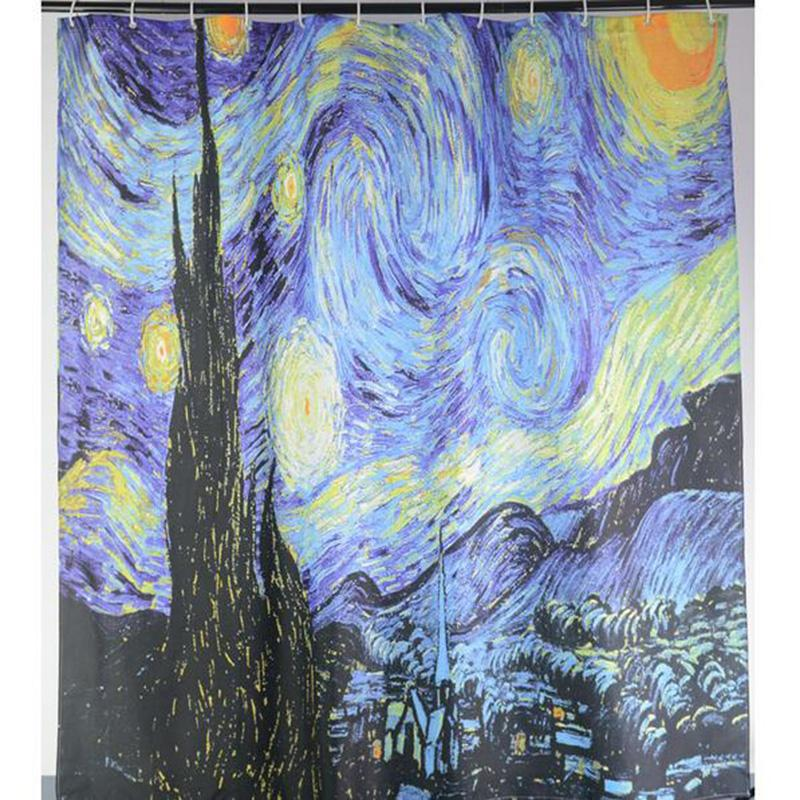 2019 Wholesale Van Gogh The Starry Night Printed Star Sky Shower Curtains Waterproof Polyester Fabric Bathroom Curtain With 12 Hooks 180x180cm From Galry