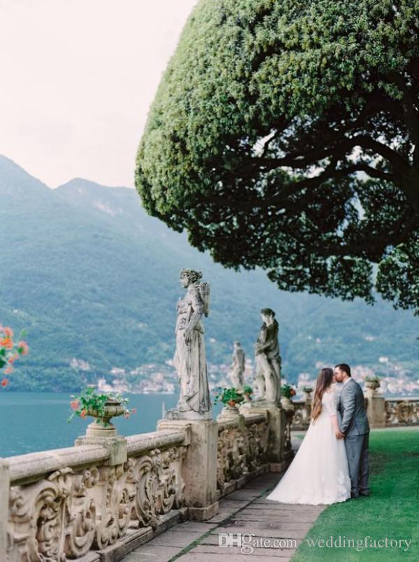 Великолепный плюс размер свадебные платья линия V шеи с плеча кружева аппликации свадебные платья с иллюзией короткие рукава на заказ