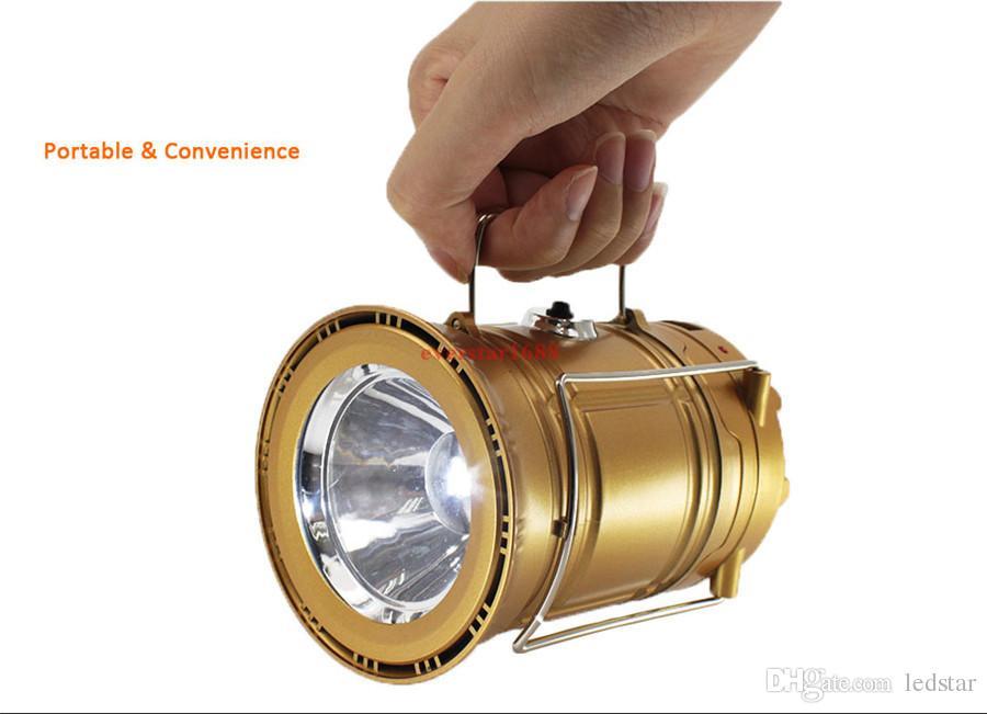 Solar alimentado com ventilador portátil USB Telefone LED Light Colapsible Lanterna Lanterna Lanterna Acampamento Ao Ar Livre Caminhada Lâmpada