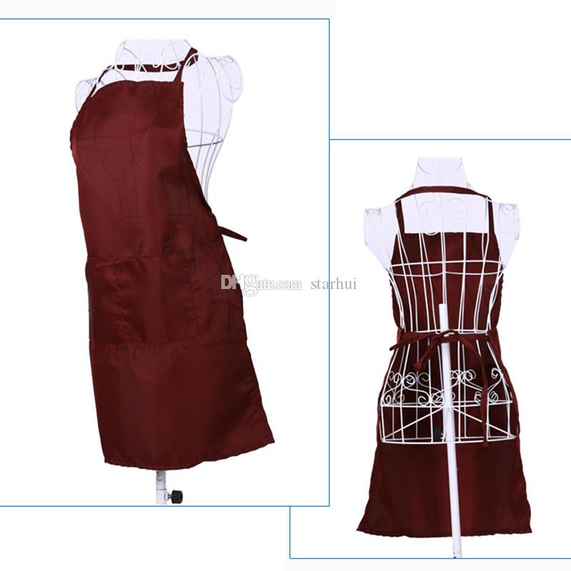New Multi Color Fashion Apron Solid Color Big Pocket Family Cook Cooking Home Baking Cleaning Tools Bib Baking Art Apron have stock WX-C18