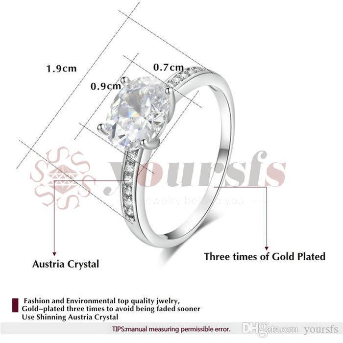Yoursfs classico 3CT simulato cz diamante diamante fedi nuziali le donne placcato placcato placcato ovale grande anello ciondolo online shopping in India