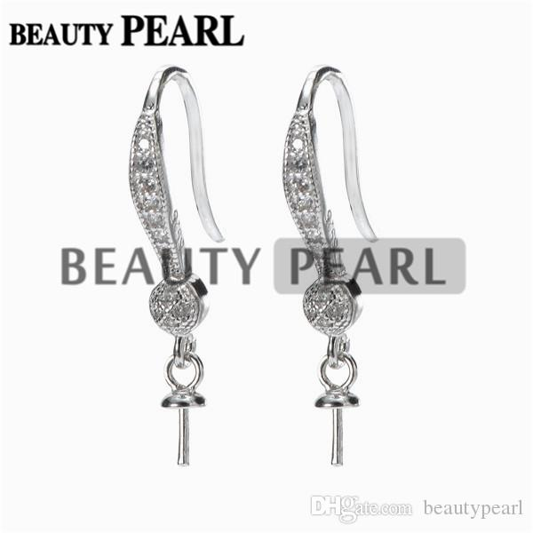 Hook Earring Base for Drop Pearls Zircon 925 Sterling Silver Earrings DIY Make Finding
