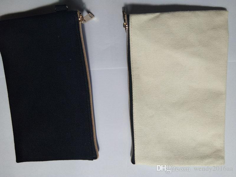 Black &Beige cotton canvas cosmetic bag with gold zip unisex casual coin purses blank make up bag size 19.5cm*11cm