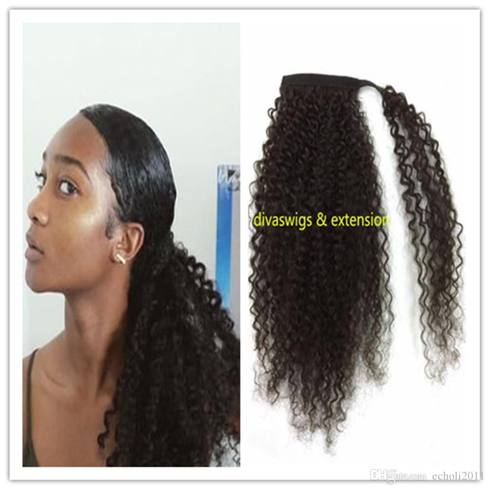 Soft Human Hair Ponytails Afro Kinky Curly Brazilian Virgin Clip In