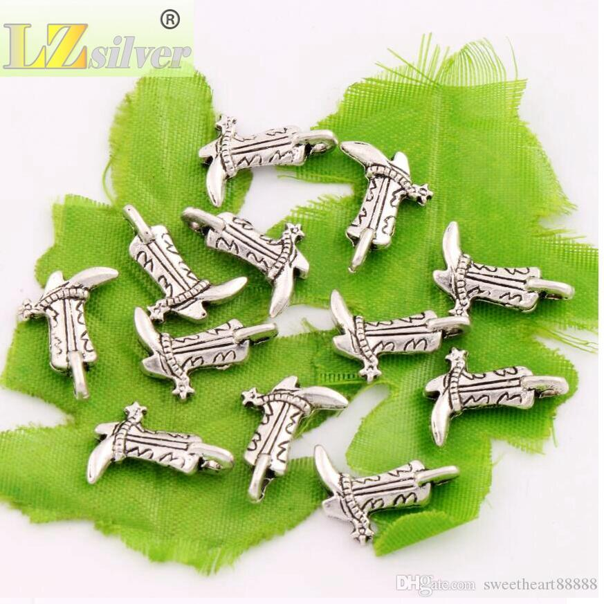Star Cowboy Boots Shoes Charm Beads Antique Silver Pendants Jewelry DIY L390 17.2x13mm