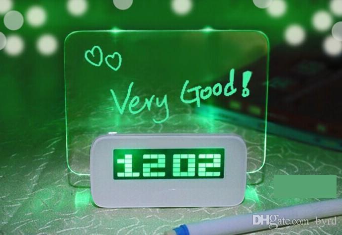 메시지 보드 녹색 빛 디지털 알람 시계 0201009