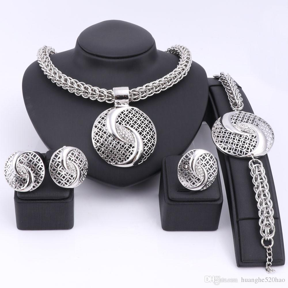 Bridal Gift Nigerian Wedding African Beads Jewelry Set Fashion Dubai Gold Plated Crystal Jewelry Set Costume Design