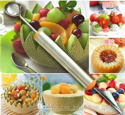 salad Fruit cutter melon scoops carved knife ballers Stainless multifunctional tool watermelon spoon to dig the ball cut fruit knives