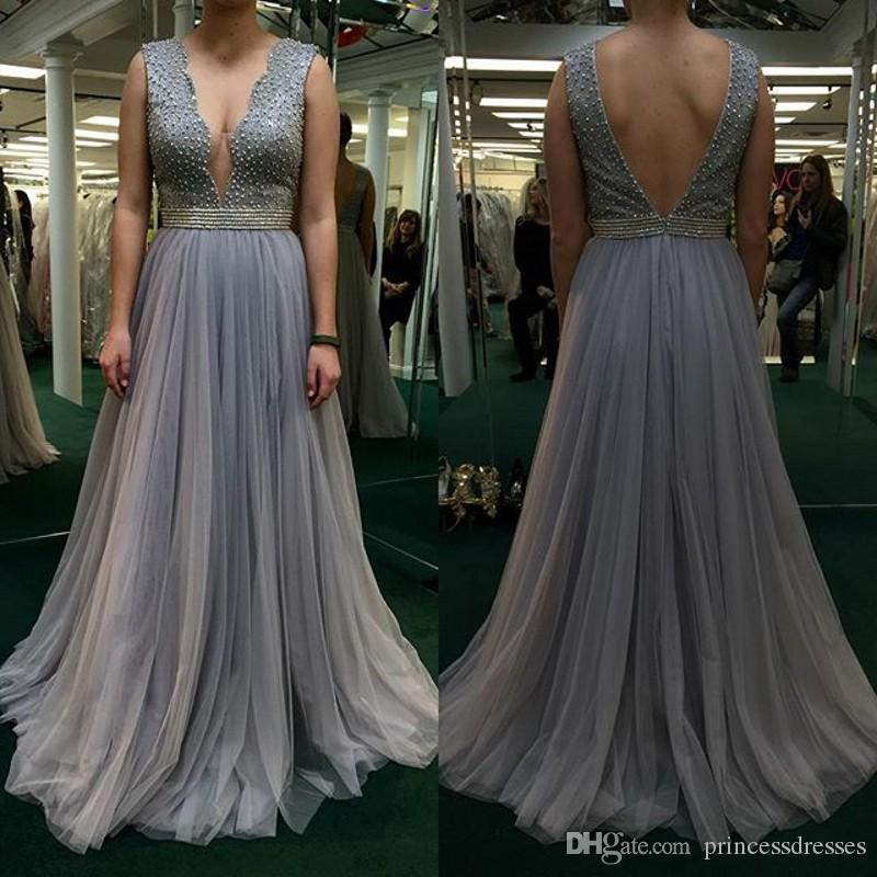 2017 Silver Plus Size Prom Dresses Deep V-Neck Backless Beaded Tulle Celebrity Party Dresses Evening Wear With Sash Cheap Red Carpet Dresses