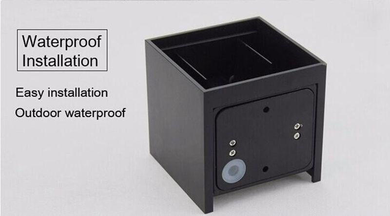 Edison2011 IP65 Cube Superfície Ajustável Montado Ao Ar Livre Levou Iluminação Levou Parede Ao Ar Livre Levante-se para baixo Levou Lâmpada de Parede