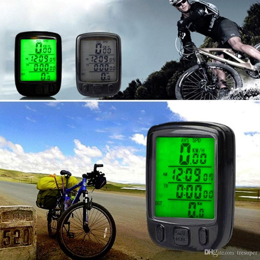 Sunding SD 563A Waterproof LCD Display Cycling Bike Bicycle Computer Odometer Speedometer with Green Backlight