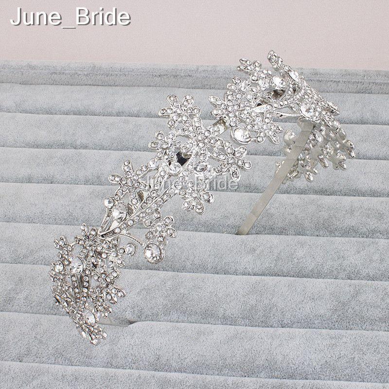Luxury Crystal Rhinestone Hairband Handmade Bridal Headbands Wedding Party Hair Accessories Headpiece Headpieces Silver Color