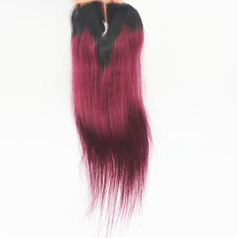 T1b 99j Ombre Lace Closure Straight Malaysian Virgin Human Hair Dark Root Two Tone Top Closure 4*4 inch