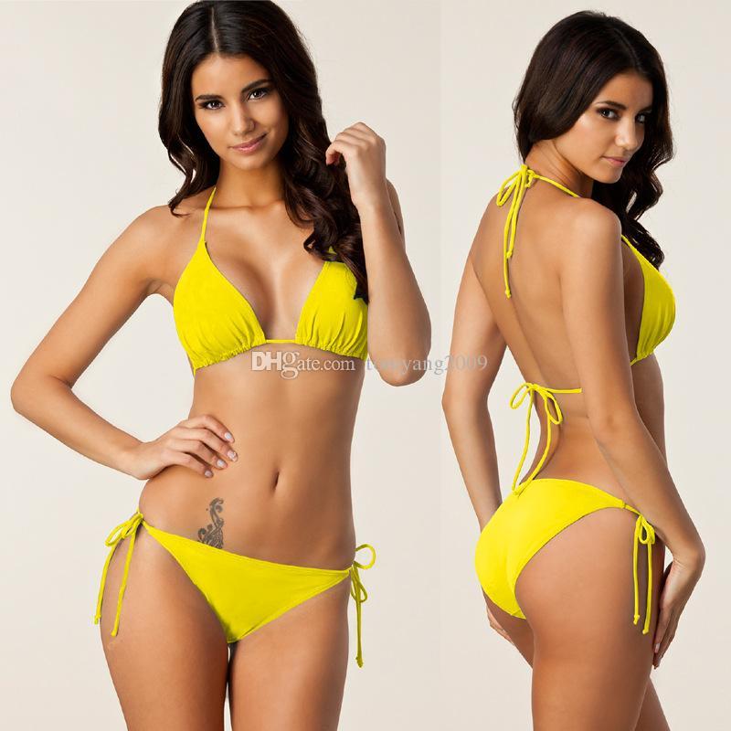 Nova marca Venda Quente Multi Cor Nylon Estilo Brasileiro Sexy Bikini Halter Estilo Meninas Swimwear 7 Cores Para Escolher Frete Grátis