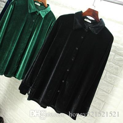 Autumn new korean fashion women's retro turn down collar long sleeve solid color velvet blouse shirt