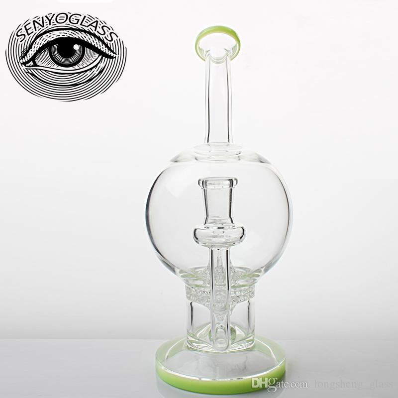 Newest dual functional glass bong smoking pipe glass water pipe with twisted water recycler
