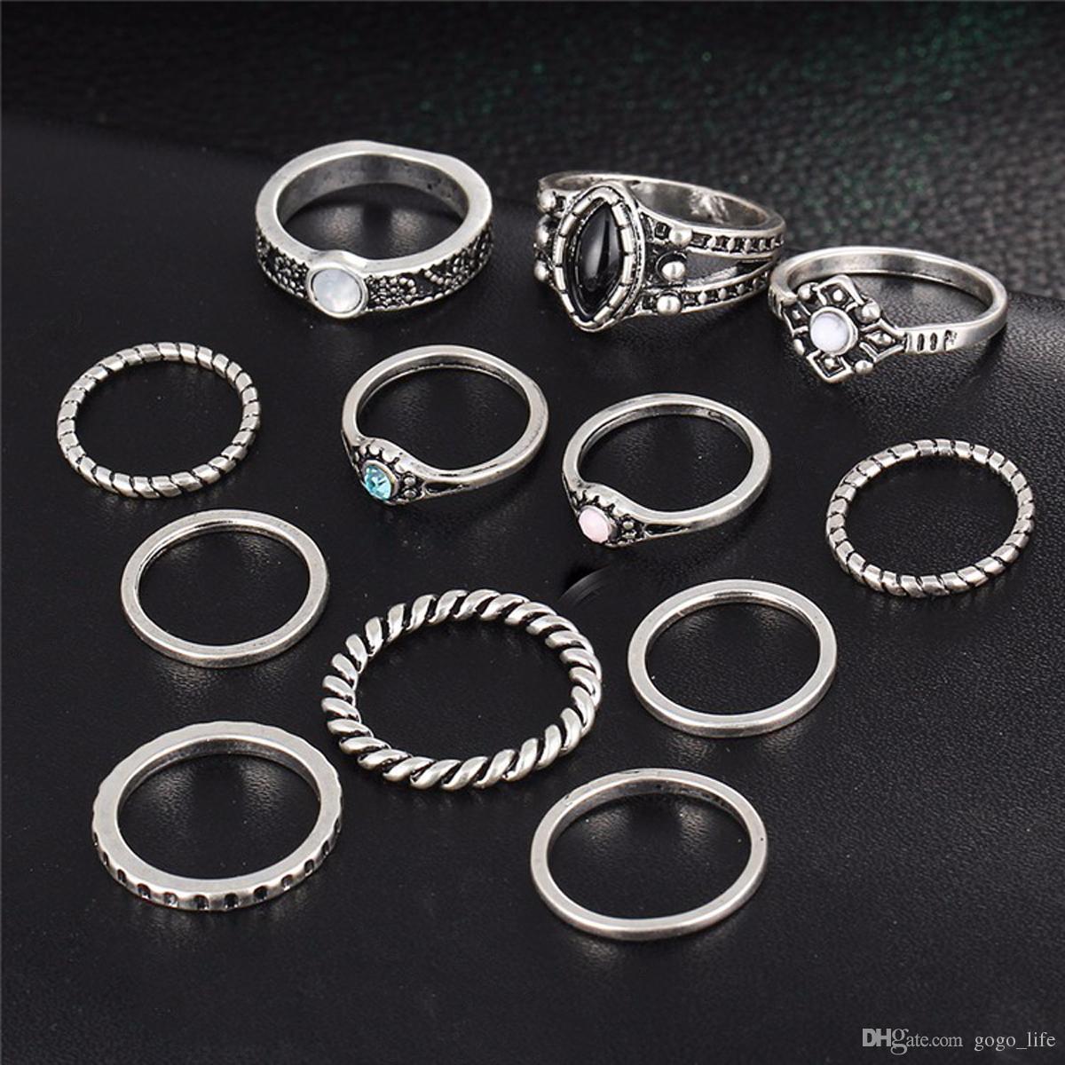 12 teile / sätze Mode Vintage Silber Punk Midi Ringe Set Antike Gold Farbe Boho Stil Weibliche Charms Schmuck Ring Für Frauen