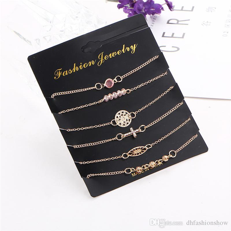 Multilayer Gold Plated Crystal Cross Bracelets Set Bijoux Fashion Jewelry Beads Round Charm Bracelet Bangle for Women Pulsera