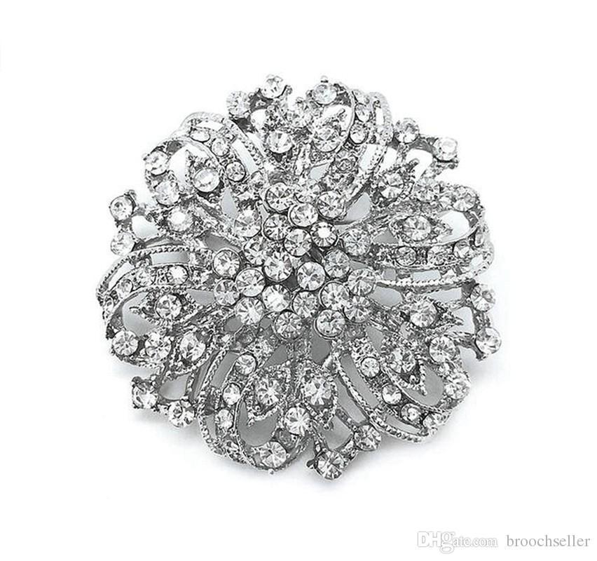 Vintage Silber Klar Strass Kristall Schöne große Party und Bouquet Brosche