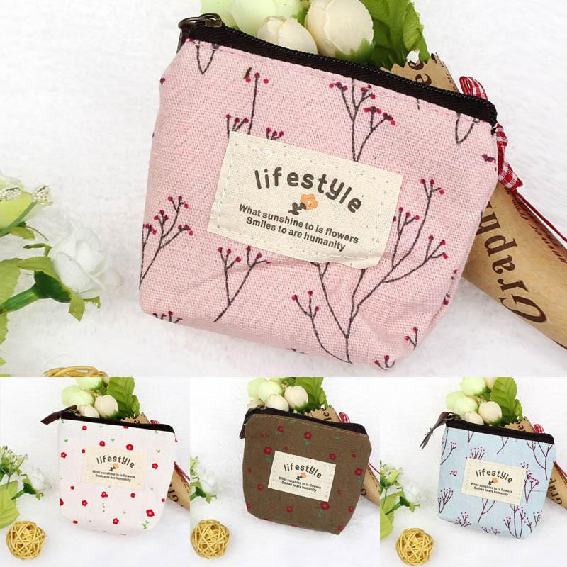 Image result for Girl's Pouch Floral Canvas Coin Card Wallet Key Zip Handbag