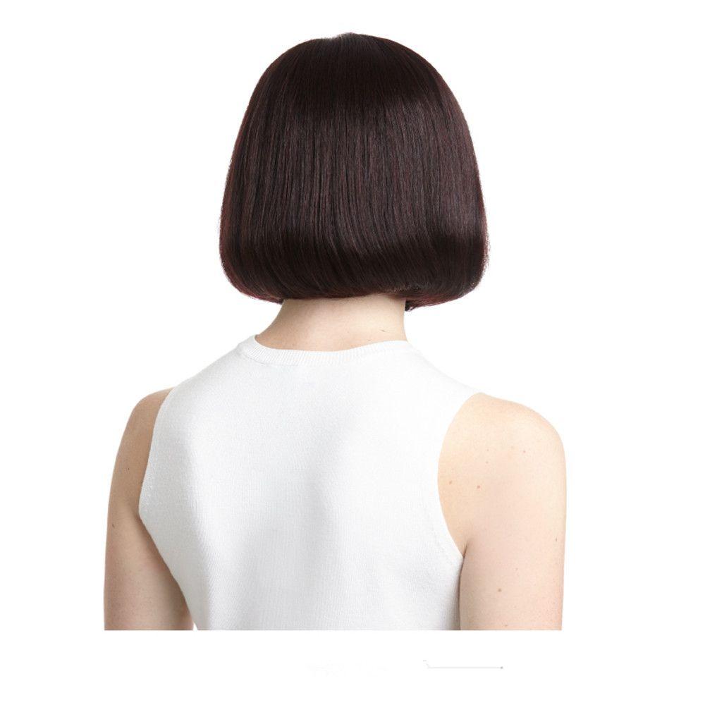 human hair weave wig Full Lace Human Hair Wig Senior silk Long Wavy Full Lace Wigs Brazilian Virgin Hair 100% With Bangs For women Color 4#