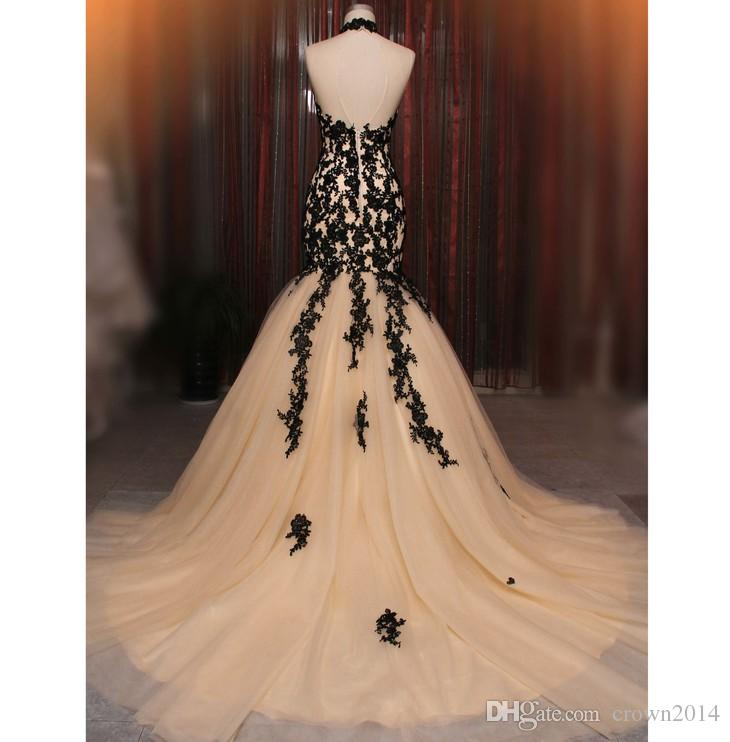 Black and Champagne Mermaid Lace Evening Dresses Sheer High Neck Sexy Backless Lace Appliques Tulle Real Photo Formal Dresses Evening Gowns
