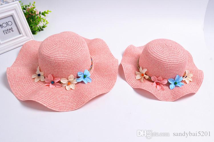 Mother Daughter Hat Mom Girl Flowers Decorated Straw Hats Women Wide Large Brim Floppy Caps Kids Girls Hats Family Beach Sun Hat B390