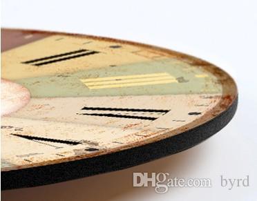16 인치 크리 에이 티브 향수 신문 패턴 나무 벽시계 쿼츠 벽 시계 0201013