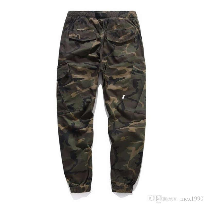 Toptan Yeni Varış Erkekler Moda Kamuflaj Koşu Pantolon Fermuar Rahat Pantolon Tulum Işın Ayak Pantolon Düzensiz Pantolon Ücre ...