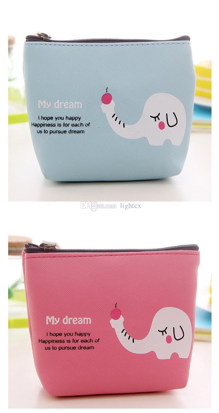 귀여운 패션 동물 작은 나일론 소녀 만화 말 코끼리 동전 지갑 미니 지갑 동전 지갑 지갑 열쇠 지갑 여성용 동전 지갑 변경