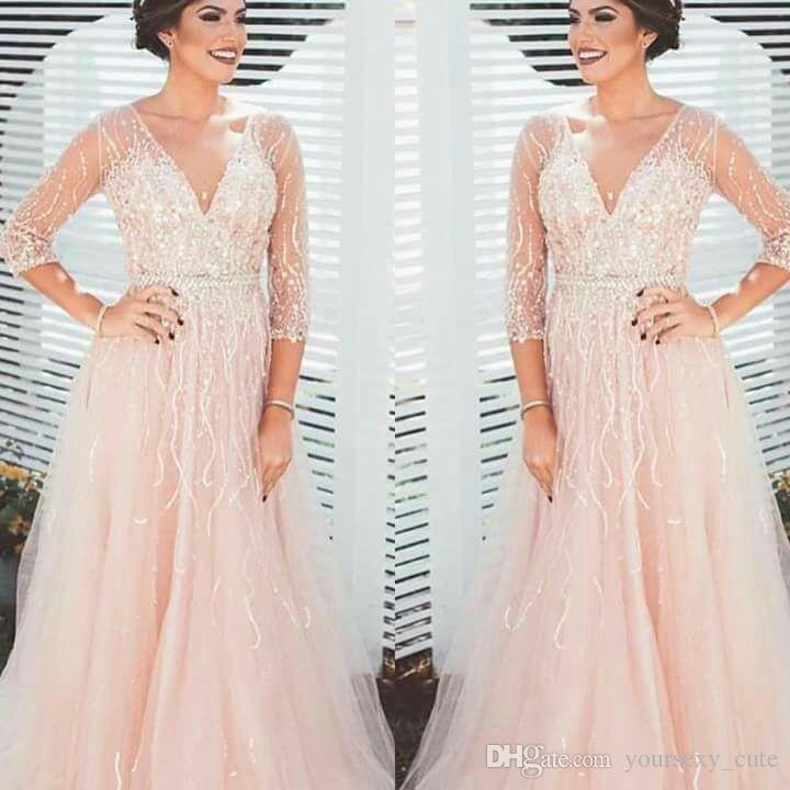 2018 Sparkle 3/4 Long Sleeves Evening Dresses V Neck Sequins Beading Tulle See Through Back Burgundy Blush Pink Prom Dresses Evening Gowns