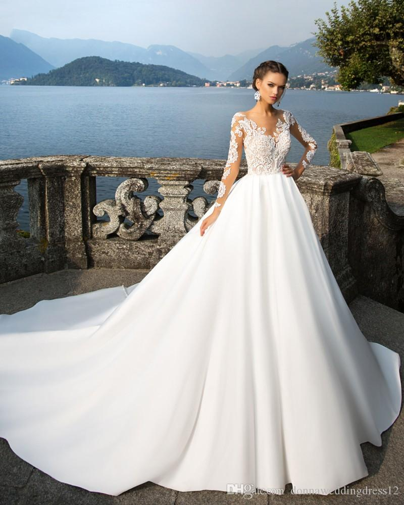 Wedding Dresses 2018 Couture Ball Gowns Elegant Royal: Discount Sexy Boat Neck Royal Train 2017 Princess A Line