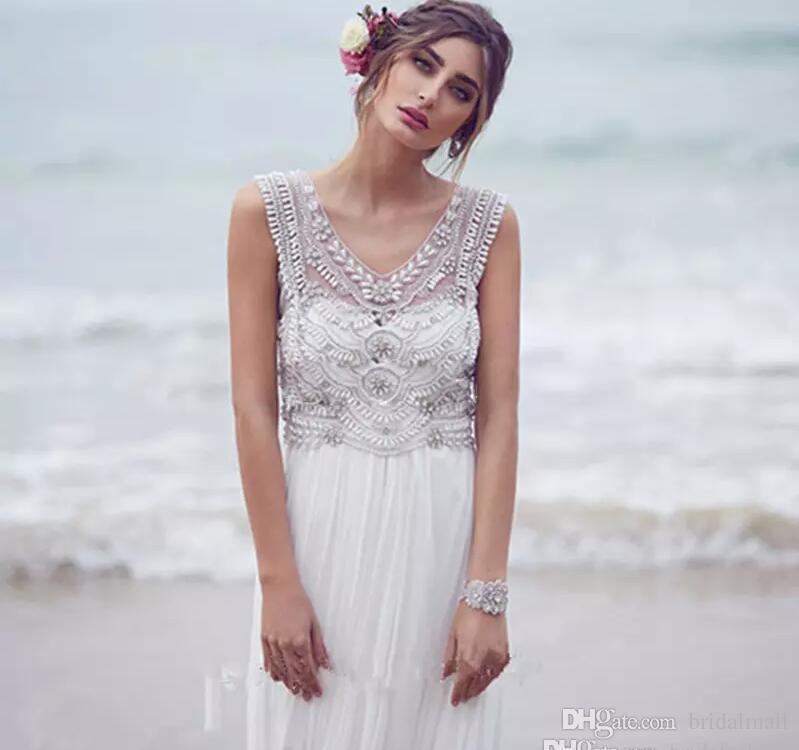 فساتين زفاف الأميرة البوهيمية 2019 ملفوفة باللآلئ