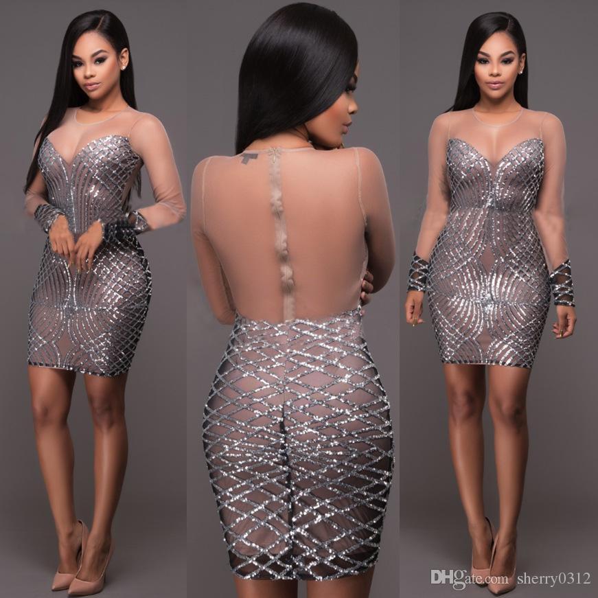 c7718215c 2017 primavera mujer sexy lentejuelas vestidos noche club wear bodycon  dress transparencia malla de plata cortada sujetador escarpado Mini vestido  de fiesta ...