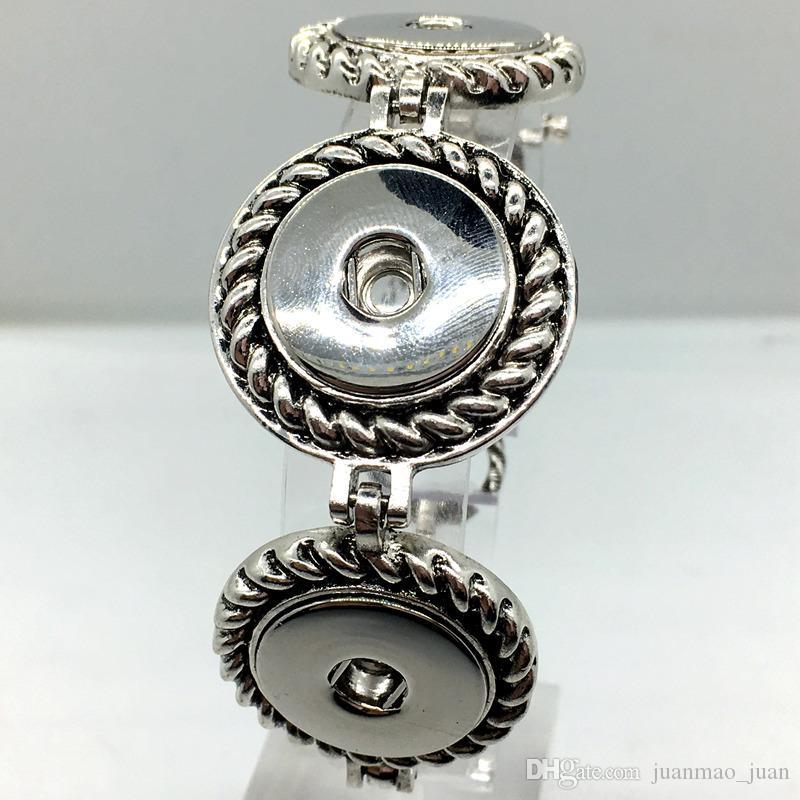 Горячие 5 шт. Много имбирь Оснастки серебряный браслет три кнопки кусок для женщин Diy Оснастки ювелирные изделия Fit 18 мм защелки Chram