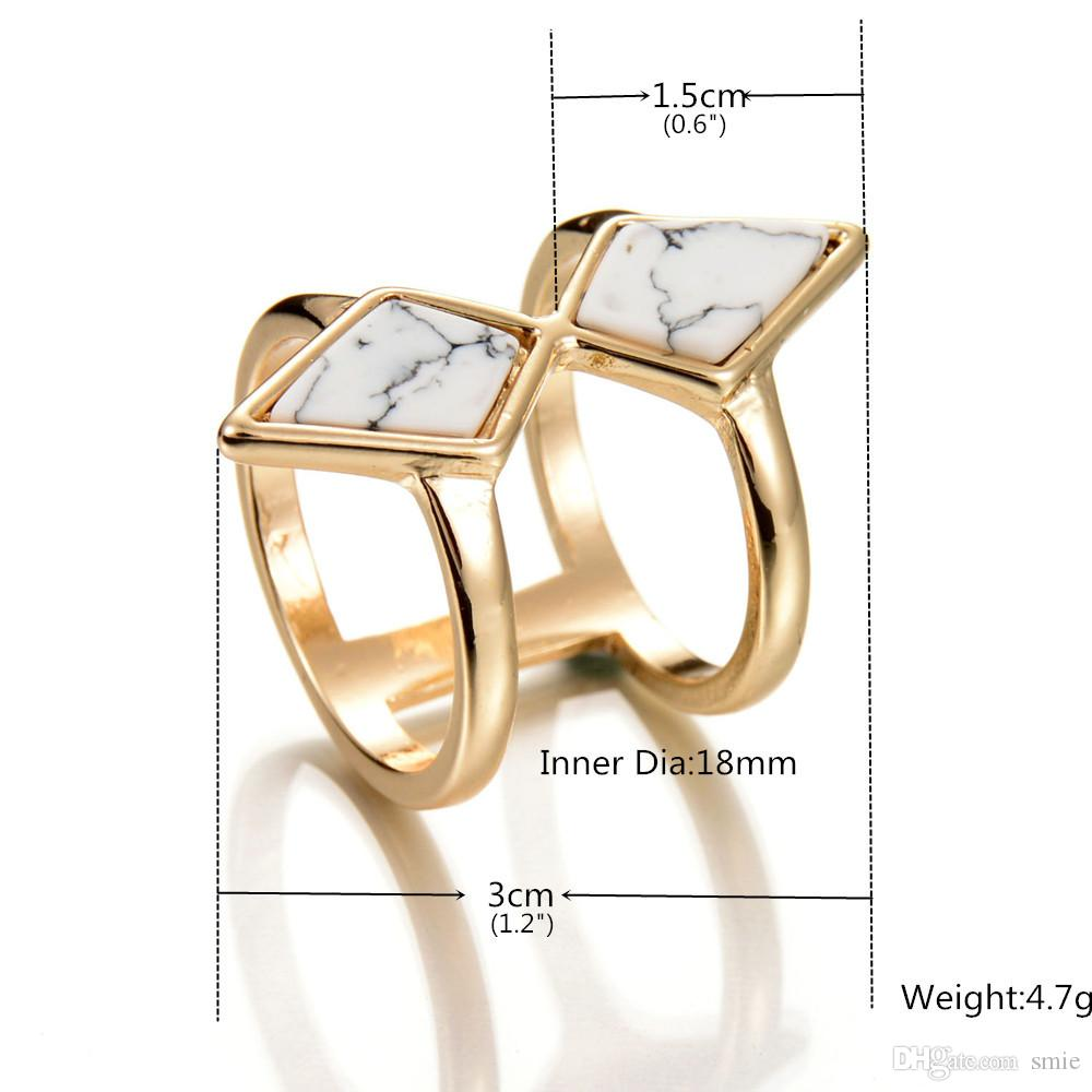 Fashion Geometry White Turquoise Ring Retro Punk Natural Stone Gold Plated Statement Rings for Women Fine Jewelry